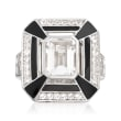 2.60 ct. t.w. White Topaz and Black Enamel Ring in Sterling Silver