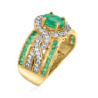 1.40 ct. t.w. Emerald and .40 ct. t.w. White Zircon Ring in 18kt Gold Over Sterling