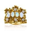C. 1970 Vintage Opal and .60 ct. t.w. Diamond Ring in 14kt Yellow Gold