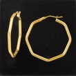 Italian Geometric Hoop Earrings in 14kt Yellow Gold