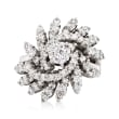 C. 1980 Vintage 2.05 ct. t.w. Diamond Floral Cluster Ring in 14kt White Gold