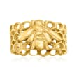 Italian 18kt Gold Over Sterling Bee and Honeycomb Ring