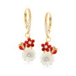 8-9mm Shell Pearl and .20 ct. t.w. White Topaz Flower Drop Earrings in 18kt Gold Over Sterling with Red Enamel