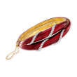 C. 1970 Vintage 1.00 ct. t.w. Diamond and Red Enamel Bracelet in 18kt Yellow Gold