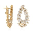 4.55 ct. t.w. Diamond Floral Drop Earrings in 14kt Yellow Gold