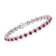 5.50 ct. t.w. Ruby and 3.00 ct. t.w. Diamond Tennis Bracelet in 14kt White Gold