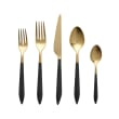 """Vietri """"Ares Oro"""" Black 5-pc. 18/10 Stainless Steel Place Setting from Italy"""