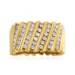 C. 1980 Vintage 1.15 ct. t.w. Diamond Diagonal-Row Ring in 14kt Yellow Gold