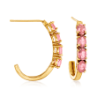 1.20 ct. t.w. Pink Tourmaline J-Hoop Earrings in 14kt Yellow Gold