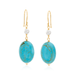 3.5-4mm Cultured Pearl and Turquoise Drop Earrings in 14kt Yellow Gold