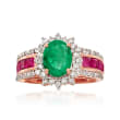 1.70 Carat Emerald, 1.20 ct. t.w. Ruby and .50 ct. t.w. Diamond Ring in 14kt Rose Gold