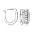 1.30 ct. t.w. Baguette and Round CZ Huggie Hoop Earrings in Sterling Silver