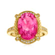 3.10 Carat Pink Topaz and .10 ct. t.w. White Topaz Ring Ring in 18kt Gold Over Sterling