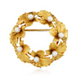 C. 1950 Vintage Tiffany Jewelry 3.5mm Cultured Pearl Flower Pin in 18kt Yellow Gold