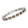 18.00 ct. t.w. Smoky Quartz and 3.70 Citrine Tennis Bracelet in Sterling Silver