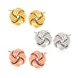 Italian Tri-Colored Sterling Silver Jewelry Set: Three Pairs of Love Knot Stud Earrings
