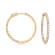 3.63 ct. t.w. CZ Inside-Outside Hoop Earrings in 18kt Gold Over Sterling