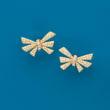 1.20 ct. t.w. Diamond Bow Earrings in 18kt Yellow Gold