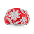 .40 ct. t.w. White Topaz and Red Enamel Floral Ring in Sterling Silver