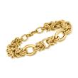 Italian 14kt Yellow Gold Alternating Byzantine-Link Bracelet