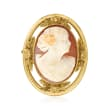 C. 1940 Vintage Pink Shell Cameo Pin/Pendant in 14kt Yellow Gold