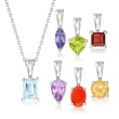 7.00 ct. t.w. Multi-Gem Jewelry Set: Necklace and Seven Pendants in Sterling Silver