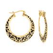 18kt Gold Over Sterling Filigree and Black Enamel Hoop Earrings