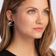 C. 1980 Vintage Black Onyx and .55 ct. t.w. Diamond Swirl Earrings in 18kt Yellow Gold