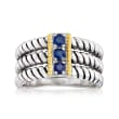 .20 ct. t.w. Sapphire Three-Stone Ring in Sterling Silver with 14kt Yellow Gold