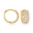 .80 ct. t.w. CZ Huggie Hoop Earrings in 14kt Gold Over Sterling