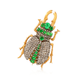 C. 1960 Vintage 2.25 ct. t.w. Tsavorite and 2.20 ct. t.w. Diamond Bug Pin/Pendant in 14kt Gold Over Sterling
