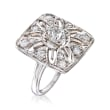 C. 1950 Vintage 1.05 ct. t.w. Diamond Cut-Out Flower Ring in Platinum