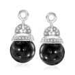 Black Agate and .10 ct. t.w. Diamond Earring Jackets in Sterling Silver