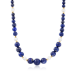 Lapis and 8-8.5mm Cultured Pearl Station Necklace with 14kt Yellow Gold
