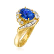 C. 1990 Vintage 1.72 Carat Sapphire and .58 ct. t.w. Diamond Ring in 18kt Yellow Gold