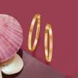 Italian 14kt Yellow Gold Squared-Edge Hoop Earrings