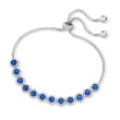 2.75 ct. t.w. Simulated Sapphire and .80 ct. t.w. CZ Bolo Bracelet in Sterling Silver