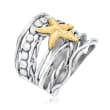 Sterling Silver and 14kt Yellow Gold Multi-Row Starfish Ring