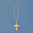3-D Cross Pendant Necklace in 18kt Yellow Gold