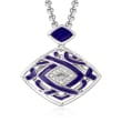 "Belle Etoile ""Virago"" Twilight Blue Enamel Pendant in Sterling Silver"