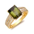 3.50 Carat Green Tourmaline and .44 ct. t.w. Diamond Ring in 14kt Yellow Gold