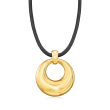 Italian Andiamo 14kt Yellow Gold Over Resin Pendant Necklace with Leather Cord