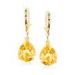 6.00 ct. t.w. Pear-Shaped Citrine Drop Earrings in 14kt Yellow Gold