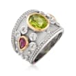 4.20 ct. t.w. Multi-Gemstone Ring in Sterling Silver and 14kt Yellow Gold
