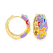 .10 ct. t.w. White Topaz and Multicolored Enamel Starfish Hoop Earrings in 18kt Gold Over Sterling