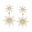 1.00 ct. t.w. Diamond Starburst Drop Earrings in 14kt Yellow Gold