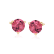 1.60 ct. t.w. Pink Tourmaline Stud Earrings in 14kt Yellow Gold