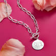 Italian Sterling Silver Personalized Paper Clip Link Disc Toggle Necklace