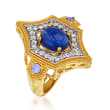 Lapis, .50 ct. t.w. White Topaz and .10 ct. t.w. Tanzanite Ring in 18kt Gold Over Sterling Silver