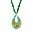 Italian Murano Glass Six-Strand Beaded Necklace in 18kt Gold Over Sterling Silver